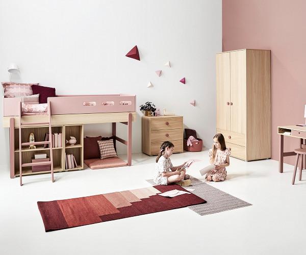 Groovy Flexa Popsicle halvhøj seng - skrå stige - Cherry – Trendbazaar ZZ49