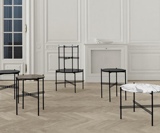Gubi TS Coffee Table - Large Dia.80cm. - Sort Marmor Sort Stel