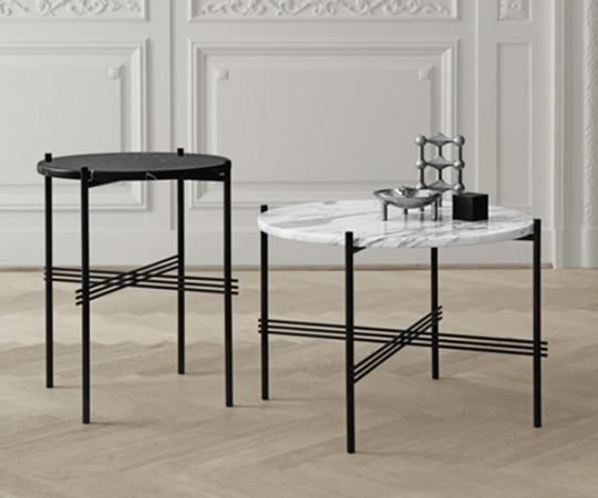 Gubi TS Coffee Table - Large Dia.80cm. - Hvid Marmor Sort Stel