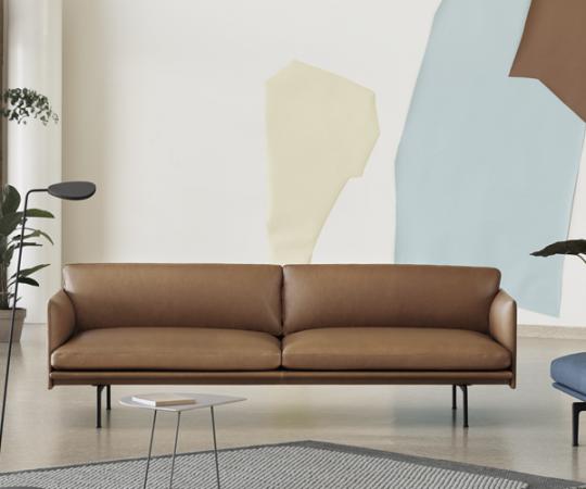 Muuto - Outline Sofa - 3-pers. - Cognac Refine Læder