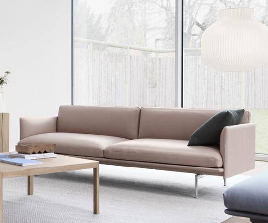 Muuto - Outline Sofa - 3-pers. - Beige Refine Læder - Alu.