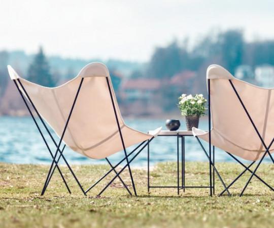 Cuero - Sunshine Mariposa Sunbrella - Sort Stel