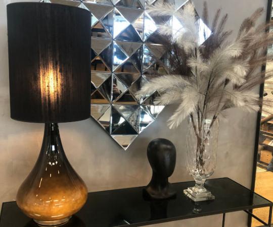 Renata bordlampe - sort silke skærm