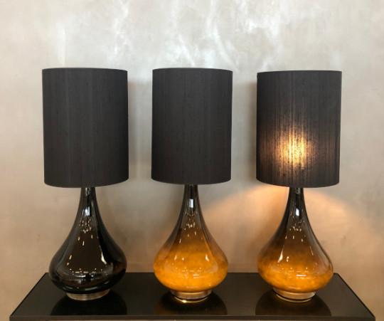 Renata bordlampe - mørkegrå velour skærm