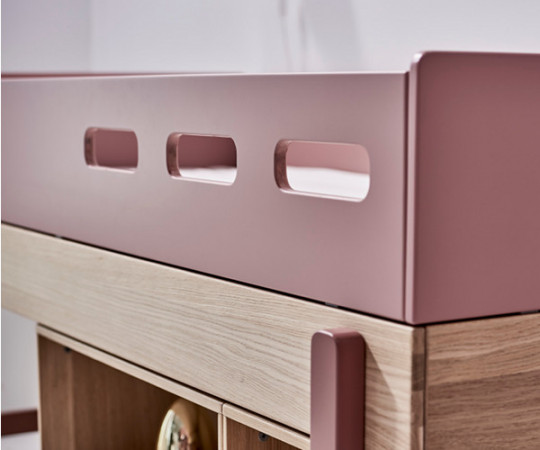 Flexa Popsicle halvhøj seng - lige stige - Cherry