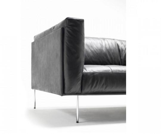 Living Divani Rod Sort Læder Sofa