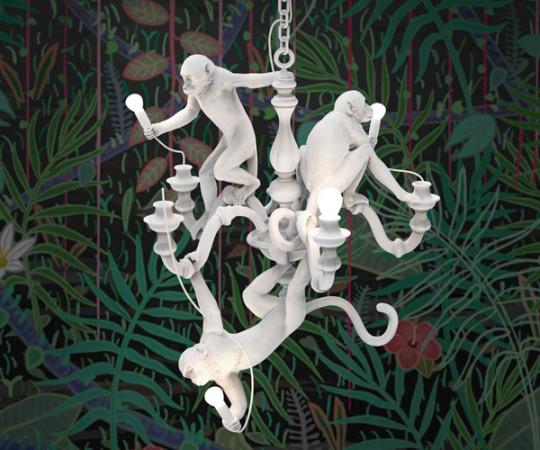 Seletti Monkey Chandelier - White