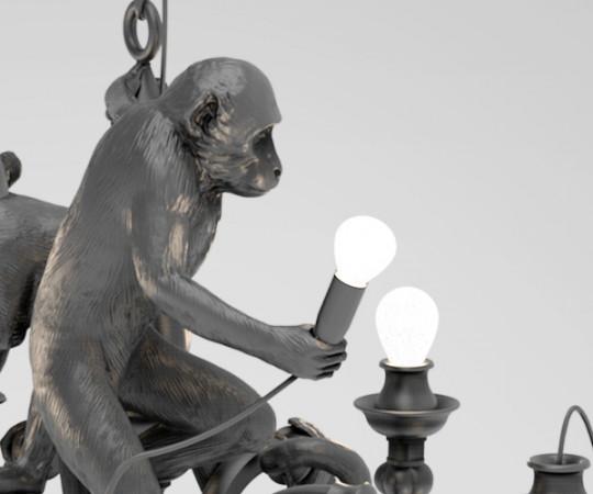 Seletti Monkey Chandelier - Sort