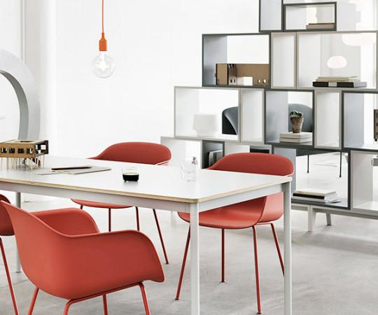 Muuto Base Table - 250x90cm - Hvid/Hvid/Natur Kant