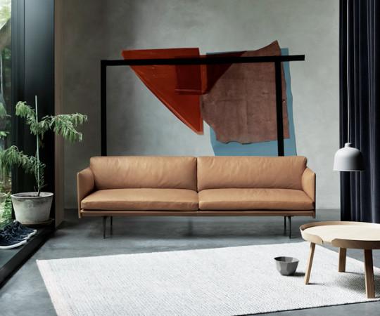 Muuto - Outline Sofa - 3-pers. - Sort Silk Leather