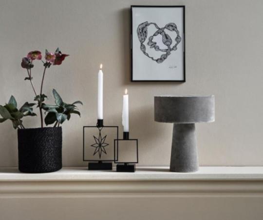 Nordal Mushroom bordlampe - grå velour