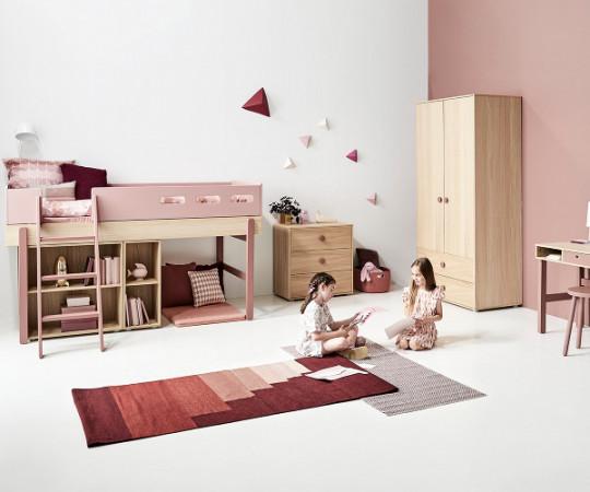 Flexa Popsicle halvhøj seng - skrå stige - Cherry
