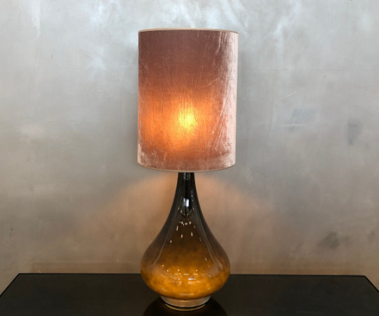 Renata bordlampe - gyldenbrun velour skærm
