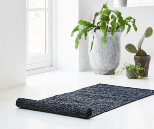 Rug Solid læder tæppe - 75x200 - Black