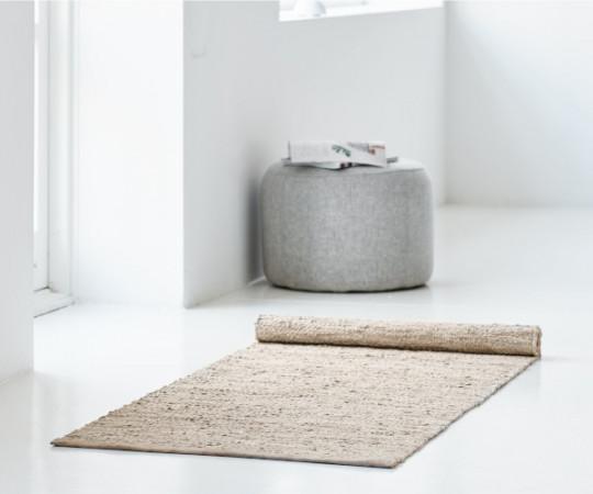 Rug Solid læder tæppe - 65x135 - Beige