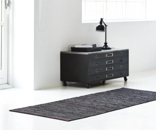 Rug Solid læder tæppe - 65x135 - Choco