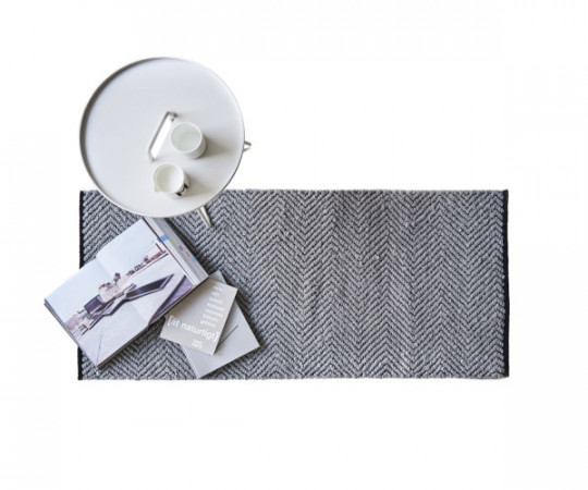 Rug Solid Rain Cotton -135x65 - grey/black