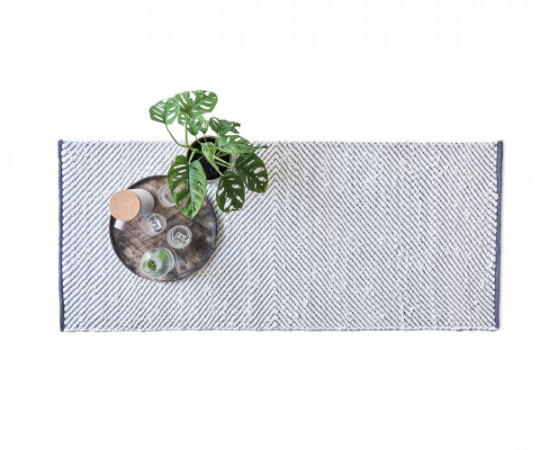Rug Solid Rain Cotton -135x65 - grey/white