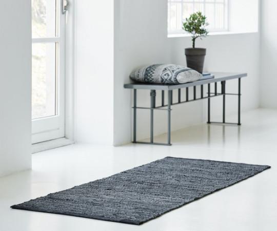 Rug Solid læder tæppe - 65x135 - Dark Grey