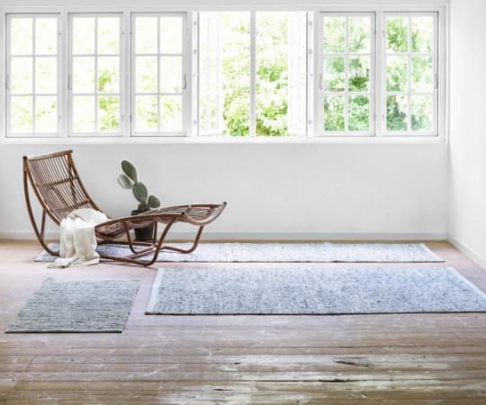 Rug Solid læder tæppe - 65x135 - Limestone