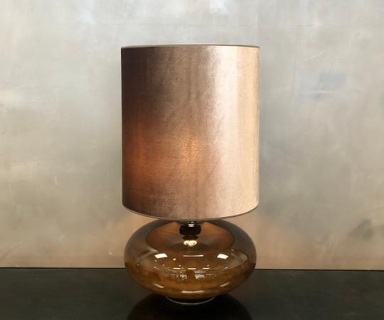 Sandy L bordlampe - varmgrå velour skærm