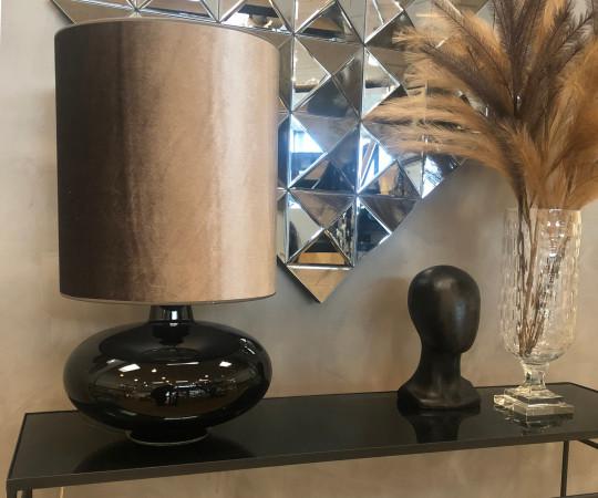 Sandy Bordlampe - varmgrå velour skærm