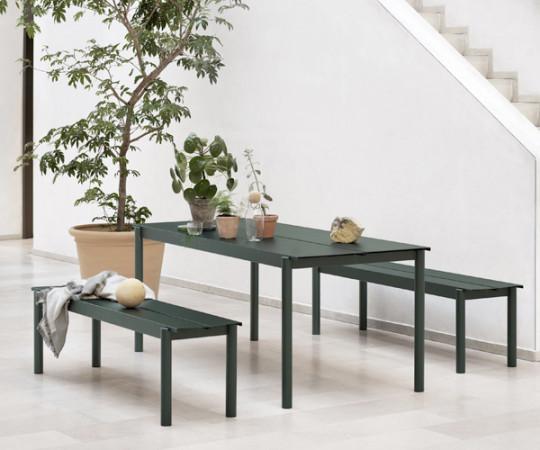 Muuto Linear Steel Bord - Grøn - 200x75cm