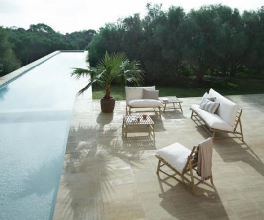 Tine K Home Bambus lounge stol - hvid hynde