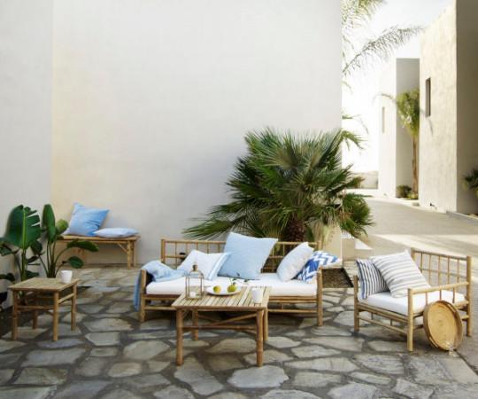 Tine K Home Bambus loungestol - hvid hynde