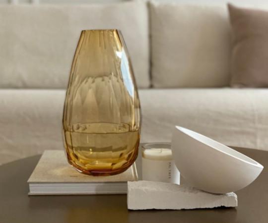 Tine K Home Crystal vase - 30x16 - amber