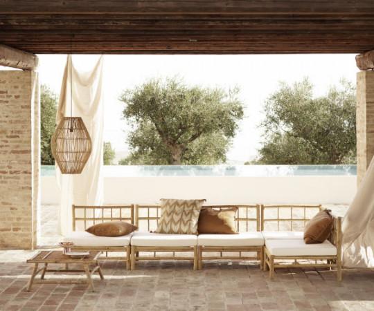 Tine K Home Bambus lounge hjørnemodul - hvid hynde