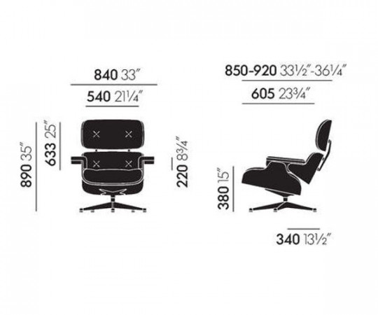 Vitra Eames Lounge Chair Inkl. skammel - Black Ash