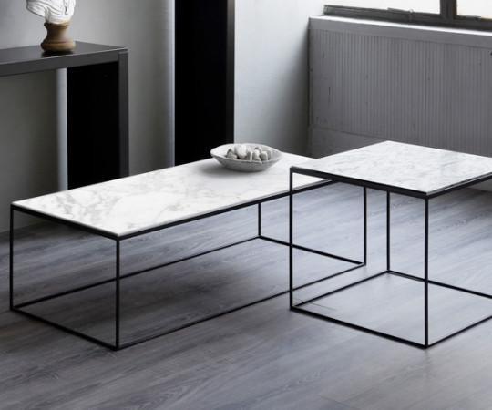 Zeus Slim Marble Sidebord - 54x54xH:48 cm.