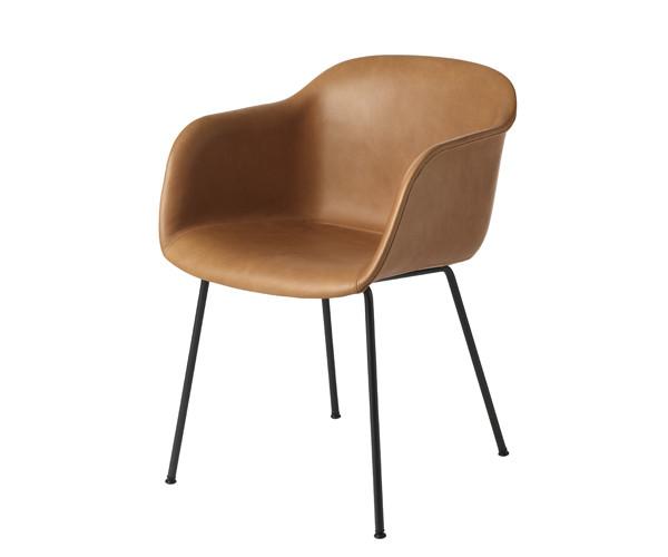 Muuto Fiber Chair - Black Tubebase - Cognac