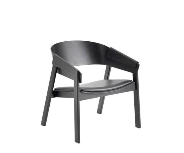 Muuto Cover Lounge Chair - Sort Ask Med Sort Læder Sæde