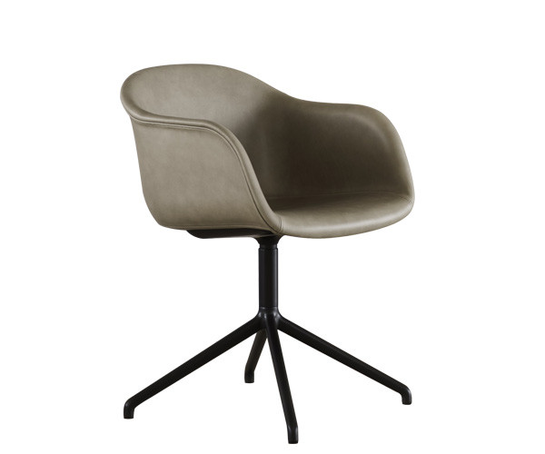Muuto Fiber Chair Swivel - Arm - Stone Silk Læder
