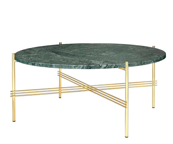 Gubi TS Coffee Table - Large Dia.80cm. - Grøn Marmor Messing Stel