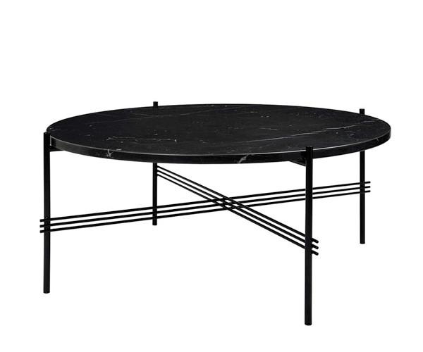 Gubi GamFratesi TS Coffee Table - Large Dia.80cm. - Sort Marmor Sort Stel