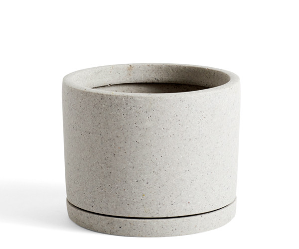 HAY Plant Pot With Saucer - L - Grå