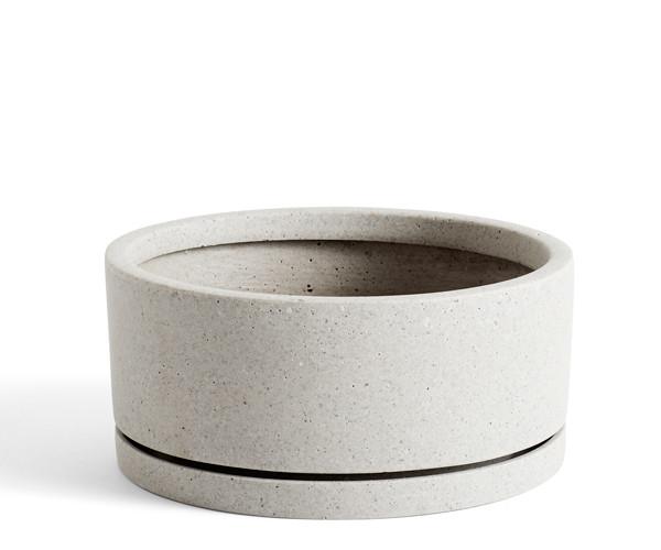 HAY Plant Pot With Saucer - XL - Grå