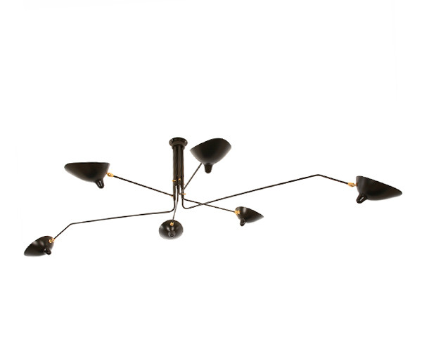 Serge Mouille Ceiling Lamp 6 rotating arms