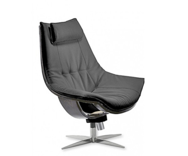Skipper Cento læderstol høj sort læder med vip