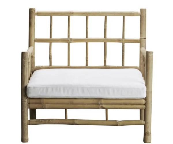 tine k home bambus loungestol hvid hynde