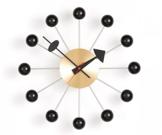 Vitra Ball Clock - Væg Ur -  Sort/Messing