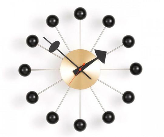 Vitra Ball Clock - Væg Ur -  Sort/Messing