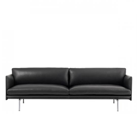 Muuto - Outline Sofa - 3-pers. - Sort Refine Læder - Alu.