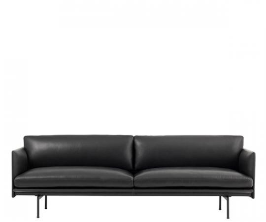 Muuto - Outline Sofa - 3-pers. - Sort Refine Læder