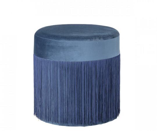 bloomingville puf med frynser blå velour