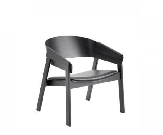 Muuto Cover Lounge Chair - Sort Ask Med Sort Læder Sæde