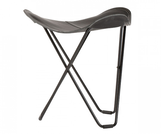 Cuero Leather Stool - Flying Goose - Black - Sort Stel